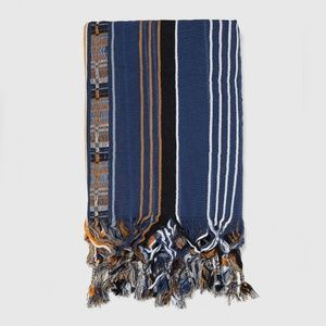 NWT Zara Man Blue Cotton Striped Fringe Scarf